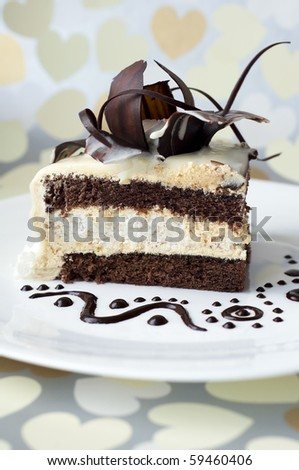 Cake with chocolate rose - stock photo