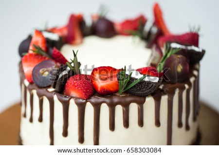 Cake Chocolate Stains Strawberries Grapes Rosemary Stock Photo Edit