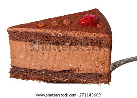 Cake with coffee souffle Isolated on white background - stock photo