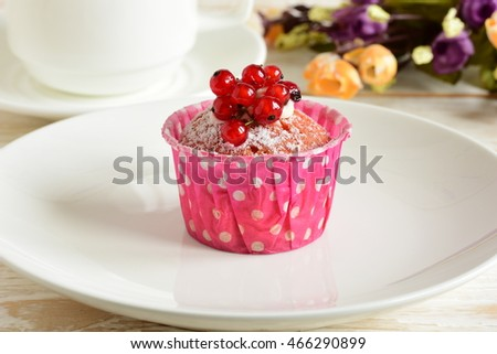 Cake with currants. Sliced tasty cake