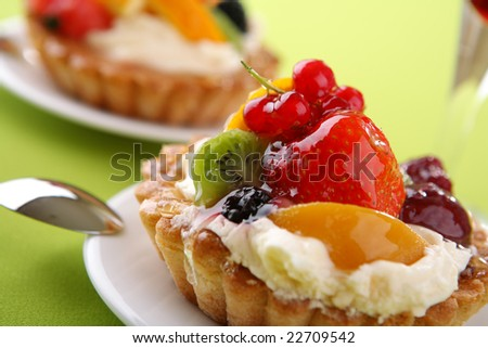 Cake with fresh fruits - stock photo