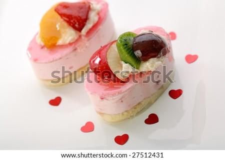 Cake with fresh fruits - stock photo