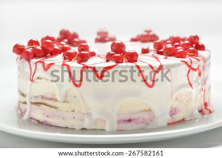 cake with fresh red currants, close-up