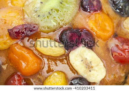 cake with fruit jelly, holiday pie, dried, sun-dried fruits, candied fruit - stock photo