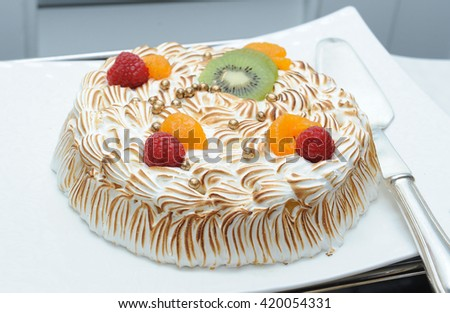 cake with fruits - stock photo