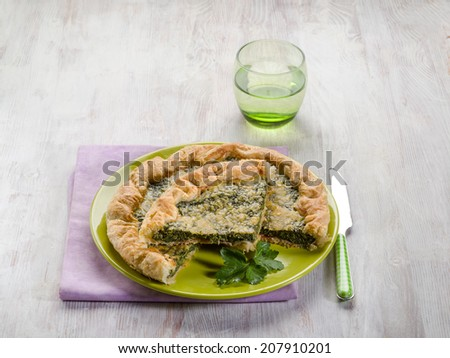 cake with ham and spinach - stock photo