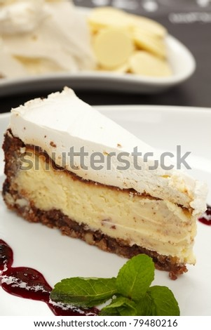 Cake with jam and mint