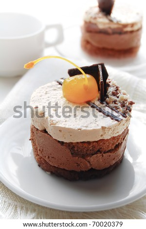 Cake with milk and chocolate cream and decorated with cherries - stock photo
