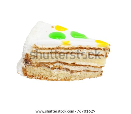 Cake with nuts, decorated. Isolated on white background.