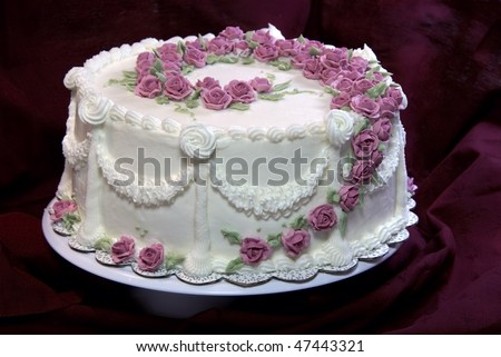 Cake with pink roses - stock photo