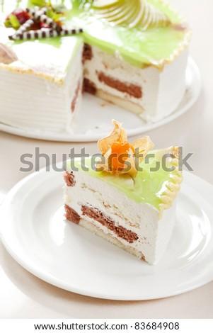 cake with pistachio - stock photo
