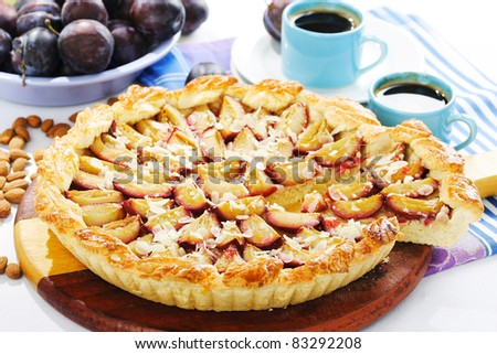 Cake with plums - stock photo