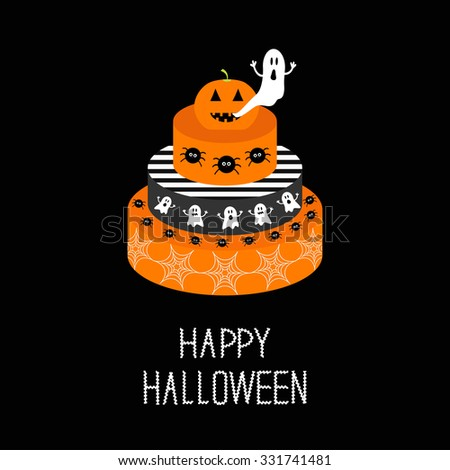 Cake with pumpkin, ghost, spider and web. Happy Halloween. Black background. Flat design. - stock photo