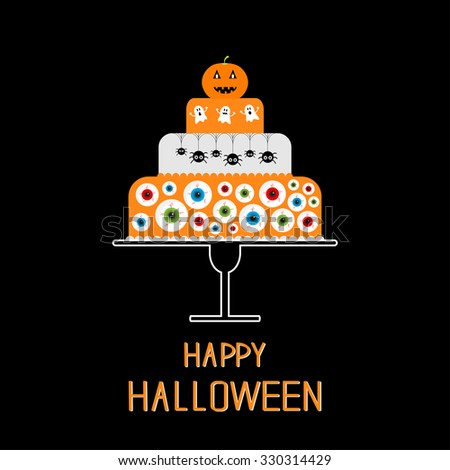 Cake with pumpkin, ghost, spider web and eyeballs. Happy Halloween. Black background. Flat design.  - stock photo
