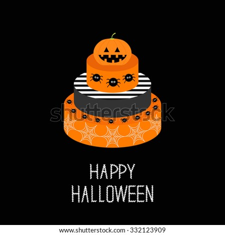 Cake with pumpkin, spider and web. Happy Halloween. Black background. Flat design.  - stock photo