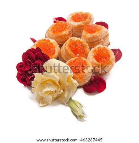 Cake with red caviar.The image on a white background.