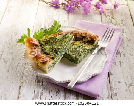 cake with ricotta and spinach - stock photo
