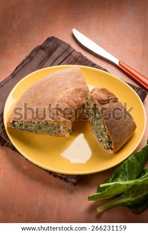 cake with ricotta cheese and vegetables - stock photo