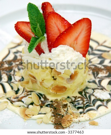 Cake with strawberry - stock photo