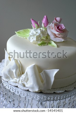 Cake with sugar roses - stock photo