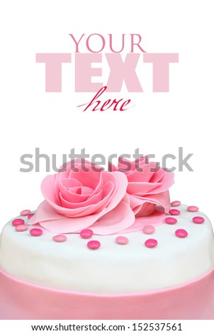 Cake with sugar roses on a white background - stock photo