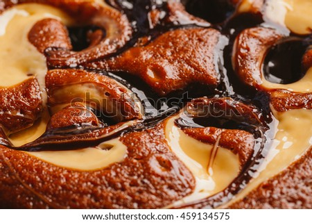cake with truffle and caramel stuffing close-up. - stock photo