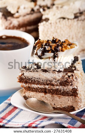 Cake with walnuts  and chocolate