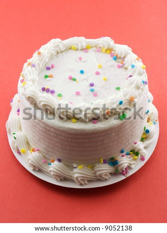 Cake with white frosting - stock photo