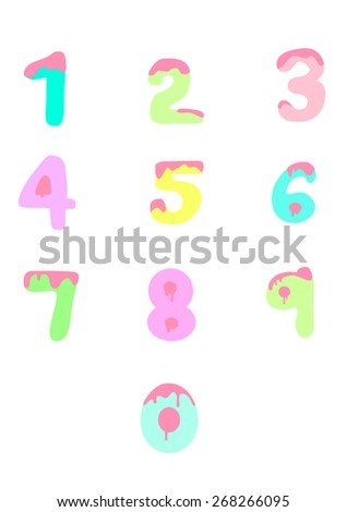 Caked Numbers Number illustrations