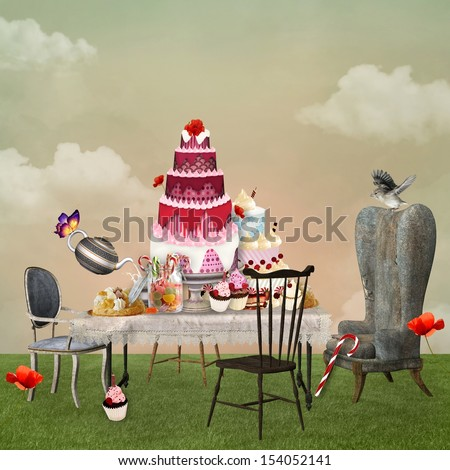 Cakes buffet - stock photo