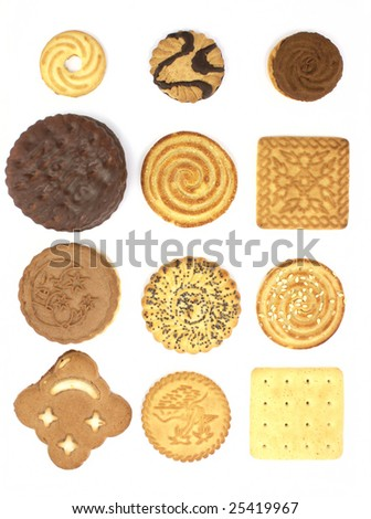 cakes collection isolated on white background - stock photo