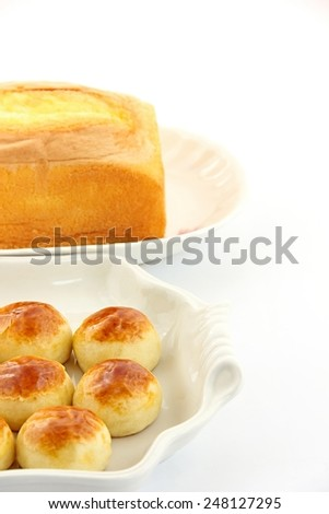 Cakes on white background. - stock photo