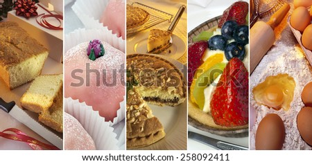 Cakes - soft sweet food made from a mixture of flour, fat, eggs, sugar, and other ingredients, baked and sometimes iced or decorated - stock photo