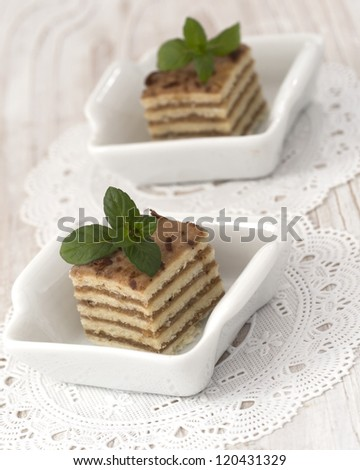 cakes with fresh mint leaves - stock photo