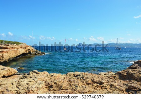 Cala Bassa beach summer, Ibiza, Spain