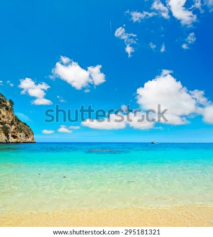Cala Biriola beach under soft clouds, Sardinia - stock photo