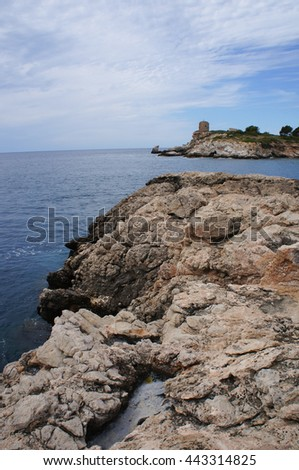 Cala Comtesa coast sea and Punta des Bufador in Illetes, Mallorca Island, the Balearic Islands, Spain - stock photo