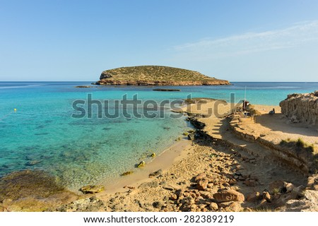 Cala Conta in Ibiza. In the background the forest Island