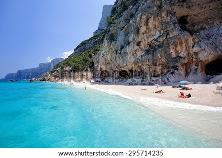 Cala di Gabbiani beach near Cala Biriola and Cala Goloritze, Baunei, Sardinia, Italy - stock photo