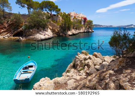 Cala Fornells View in Paguera, Majorca, Spain - stock photo