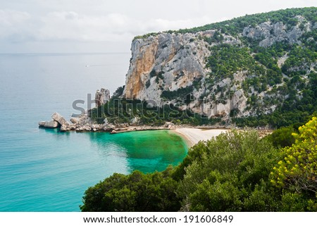 Cala Luna beach in Cala Gonone, Sardinia, Italy - stock photo