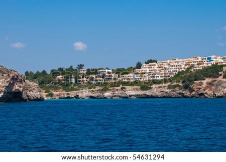 Cala Romantica bay - view from the open sea, Majorca island, Spain