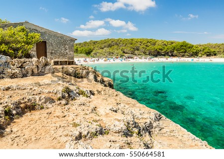 Cala S'Amarador with small fisherman's house. Beach is one of two beautiful beaches in Mondrago Natural Park on the south eastern coast of Mallorca. Mallorca island, Spain.
