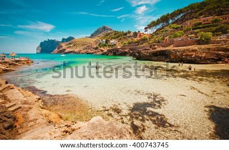 Cala San Vincente,  Beach in Mallorca at Balearic Islands of Spain - stock photo