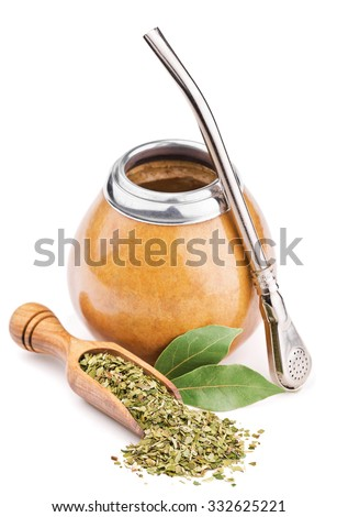 calabash and dry mate tea isolated on white - stock photo