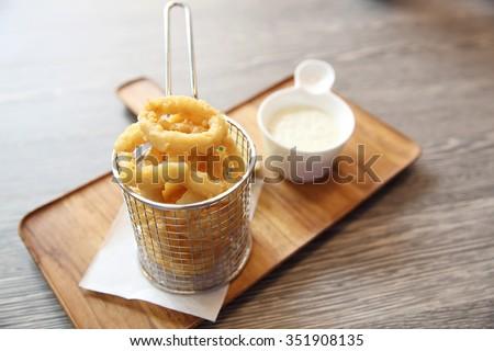 calamari italian fried squid - stock photo