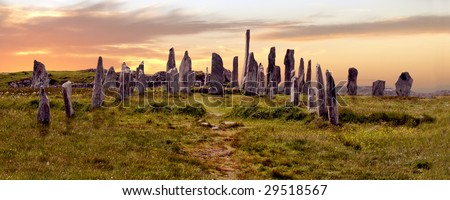 Calanais Stone Circle, Isle of Lewis, Scotland - stock photo