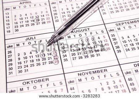 calander remarks - stock photo