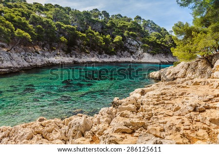 Calanque between Marseille and Cassis, France. Cote D Azur - stock photo