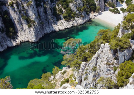 Calanques d'En Vau near Cassis, Provence, South of France - stock photo